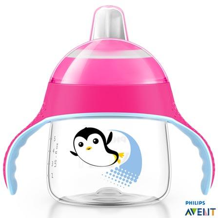 Copo Pinguim 200 ml Rosa com Bico e Alça - Philips Avent, Rosa, Polipropileno, 0,2 Litros, Não, 03 meses