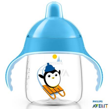 Copo com 260 ml Azul Pinguim SCF75305 - Philips Avent, Azul, Polipropileno, 0,26 Litros, Não especificado, 03 meses