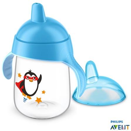Copo com Bico 340 ml Azul Pinguim - Philips Avent, Azul, Polipropileno, 0,34 Litros, Não, 03 meses