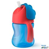 Copo com Canudo Curvado 200 ml Azul e Vermelho - Philips Avent