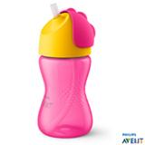 Copo com Canudo Curvado 300 ml Rosa e Amarelo - Philips Avent
