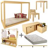 Mini Cama + Arara + Armario + Barra + Cadeira e Mesa Branco e Pinus - Viscondesconde + Colchao Ortobom Branco e Cinza