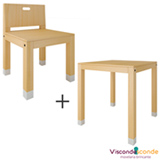 Cadeira Infantil Toca Branco e Pinus  Viscondesconde + Mesa Infantil Toca Branco e Pinus - Viscondesconde