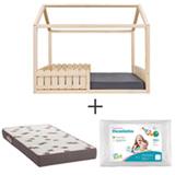 Cama Ludica Pinus Idea Kids + Travesseiro Infantil Branco Fibrasca + Colchao Solteiro Light D28 Bordo Ortobom