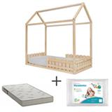 Mini Cama Ludica Pinus Nordico Idea Kids + Travesseiro Infantil Branco - Fibrasca + Colchao  D23 Ortobom Branco e Cinza