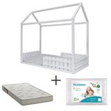Mini Cama Ludica Branca Idea Kids + Travesseiro Infantil  Fibrasca + Colchao para Mini Cama D23 Branco e Cinza Ortobom