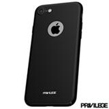 Capa Protetora Slim Finito para iPhone 7 com Fechamento pelas Laterais em Plástico Preto - Privilege - PRIVCFIP7BLK