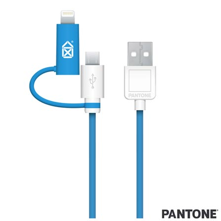 Cabo Lightning + Micro USB PVC 2m Azul Pantone - PACAB2UL1, Azul