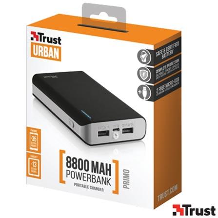 Carregador Portatil 8800 mAh com 02 Conexoes USB Preto - Trust - TR-20070I, Bivolt, Bivolt, Preto, Carregadores, Smartphones e Tablets, 12 meses