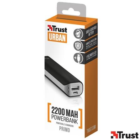 Carregador Portátil 2200 mAh para Smartphones e Tablets Preto - Trust - TR-21221I, Bivolt, Bivolt, Preto, Carregadores, Smartphones e Tablets, 12 meses