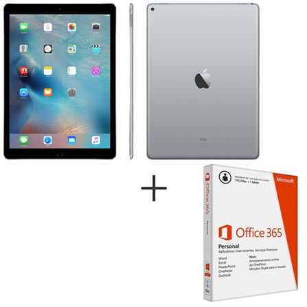 "iPad Pro Space Gray, 12,9"", Wi-Fi, iOS 9, A9X, 128 GB + Microsoft Office 365 Personal, 0"