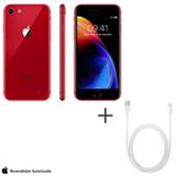 iPhone 8 RED Special Edition Vermelho, 4,7, 4G, 256GB - MRRN2BZ/A + Cabo Lightning USB Apple Branco - MD818BZ/A