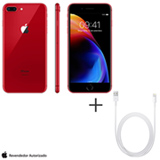 iPhone 8 Plus RED Special Edition, 5,5, 4G, 256GB e 12 MP - MRTA2BZ + Cabo Lightning USB Apple Branco - MD818BZ