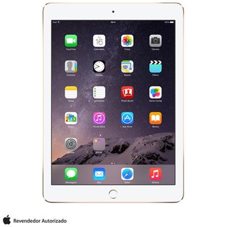 """iPad Air 2 Dourado com 9,7"""", Wi-Fi, iOS 8, Processador A8X e 16 GB, 110V, 220V, Bivolt, Bivolt, Dourado, 0000009.70, 000016, 1, N, APPLE, 003412, A8X, iOS, 0000009.70, Sim, 8.0 MP, 16 GB, Wi-Fi, 12 meses, Sim, Sim, A8X, Não, iOS, Até 10'', 9.7'', LED Touchscreen, Não"""