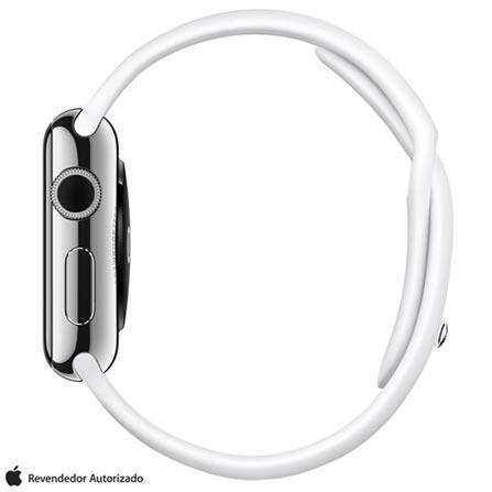 Apple Watch Prata com Pulseira Esportiva Branca, 38 mm, Wi-Fi, Bluetooth e 8 GB, Preto, 38 mm, watchOS, Não especificado, 8 GB, Não, 12 meses