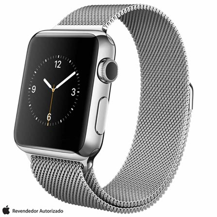Apple Watch Prata com Pulseira Estilo Milanes, 38 mm, Wi-Fi, Bluetooth e 8 GB, Preto, 38 mm, watchOS, Não especificado, 8 GB, Não, 12 meses