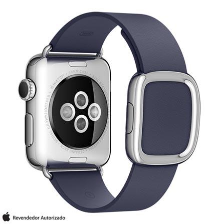 Apple Watch Prata com Pulseira P Azul Meia-Noite, 38 mm, Wi-Fi, Bluetooth e 8 GB, Prata, 38 mm, watchOS, Não especificado, 8 GB, Não, 12 meses