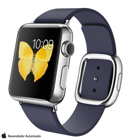 Apple Watch Prata com Pulseira M Azul Meia-Noite, 38 mm, Wi-Fi, Bluetooth e 8 GB, Prata, 38 mm, watchOS, Não especificado, 8 GB, Não, 12 meses
