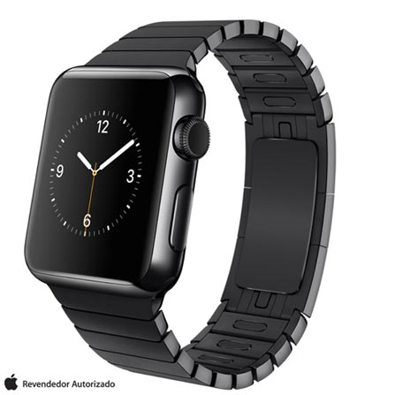 Apple Watch Preto Espacial com Pulseira de Elos, 38 mm, Wi-Fi, Bluetooth e 8 GB, 38 mm, watchOS, Não especificado, 8 GB, Não, 12 meses