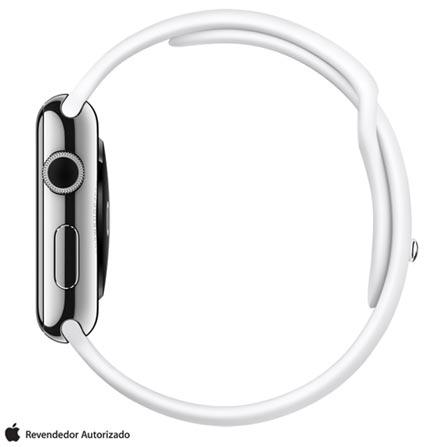 Apple Watch Prata com Pulseira Esportiva Branca, 42 mm, Wi-Fi, Bluetooth e 8 GB, Cinza, 42 mm, watchOS, Não especificado, 8 GB, Não, 12 meses