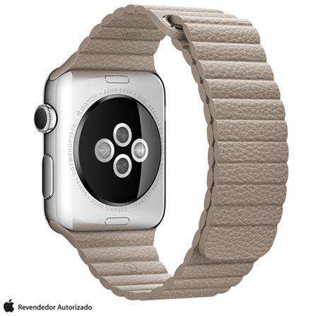Apple Watch Prata com Pulseira G de Couro Cinza, 42 mm, Wi-Fi, Bluetooth e 8 GB, Prata, 42 mm, Não especificado, 8 GB, Não, 12 meses
