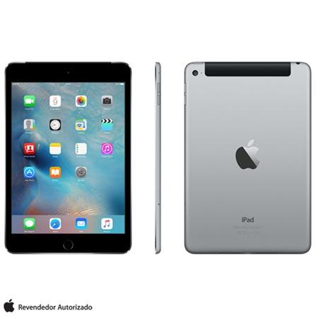 "iPad Mini 4 Space Gray com 7,9"", Wi-Fi, 4G, iOS 9.0, Processador A8 e 16GB, Cinza, 0000007.90, 000016, 1, N, APPLE, 126310, A8, iOS, 0000007.90, I, Nano Chip, 8.0 MP, 16 GB, Wi-Fi + 4G, 12 meses, Até 10''"