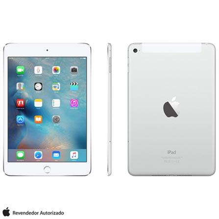 "iPad Mini 4 Silver com 7,9"", Wi-Fi, 4G, iOS 9.0, Processador A8 e 16GB, Prata, 0000007.90, 000016, 1, N, APPLE, 126310, A8, iOS, 0000007.90, I, Nano Chip, 8.0 MP, 16 GB, Wi-Fi + 4G, 12 meses, Até 10''"