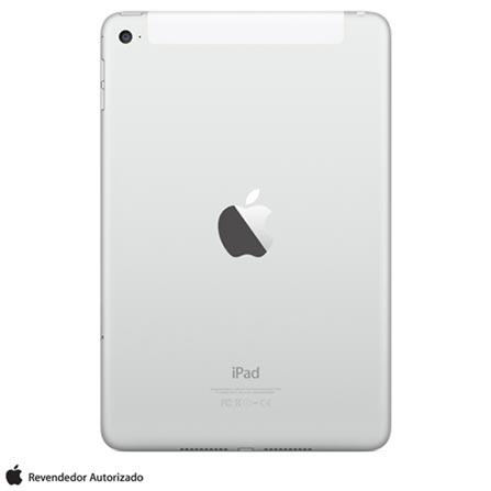 "iPad Mini 4 Silver com 7,9"", Wi-Fi, 4G, iOS 9.0, Processador A8 e 64GB, Prata, 0000007.90, 000064, 1, N, APPLE, 126310, A8, iOS, 0000007.90, I, Nano Chip, 8.0 MP, 128 GB, Wi-Fi + 4G, 12 meses, Até 10''"