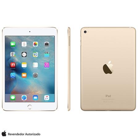 """iPad Mini 4 Dourado com 7,9"""", Wi-Fi, iOS 9, Processador A8 e 128 GB, Dourado, 0000007.90, 000128, 1, N, APPLE, 126310, A8, iOS, 0000007.90, Sim, 8.0 MP, 128 GB, Wi-Fi, 12 meses, Não, Sim, A8, Não, iOS, Até 10'', 7.9'', LED Touchscreen, Não"""