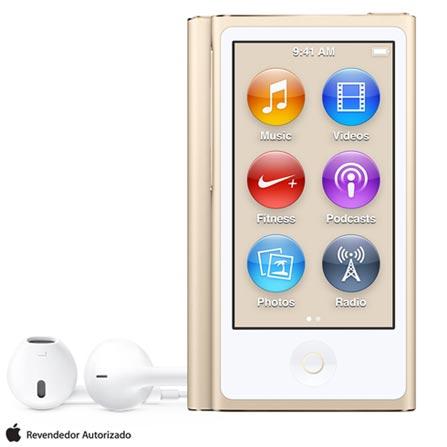 iPod Nano com 16 GB Dourado, Bivolt, Bivolt, Dourado, 16 GB, iPod Nano