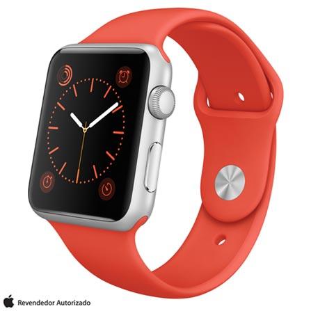 Apple Watch Sport Prata com Pulseira Laranja, 42 mm, Wi-Fi, Bluetooth e 8 GB, Prata, 42 mm, Não especificado, 8 GB, Não, 12 meses