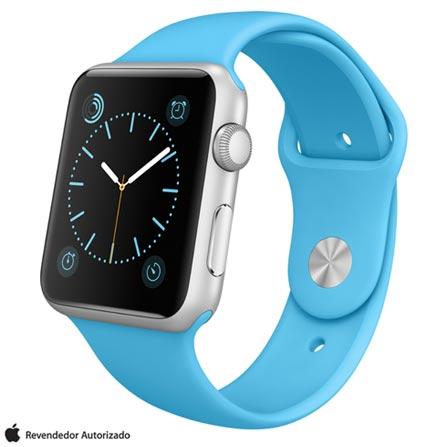 Apple Watch Sport Prata com Pulseira Azul, 42 mm, Wi-Fi, Bluetooth e 8 GB, Prata, 42 mm, watchOS, Não especificado, 8 GB, Não, 12 meses