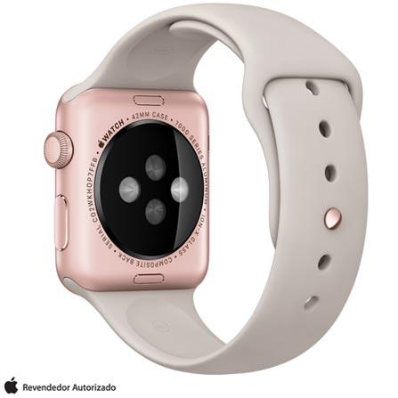 Apple Watch Sport Rosa com Pulseira Cinza, 42 mm, Wi-Fi, Bluetooth e 8 GB, Rosa, 42 mm, Não especificado, 8 GB, Não, 12 meses