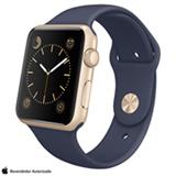 Apple Watch Sport Dourado com Pulseira Azul Meia-Noite, 42 mm, Wi-Fi, Bluetooth e 8 GB