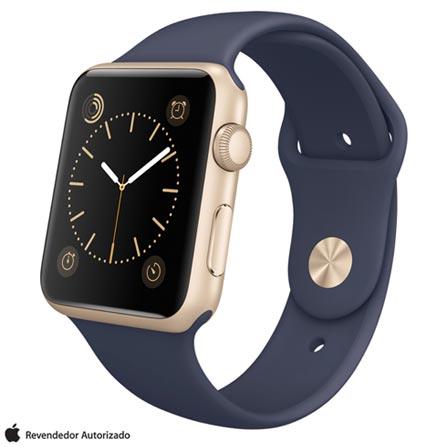 Apple Watch Sport Dourado com Pulseira Azul Meia-Noite, 42 mm, Wi-Fi, Bluetooth e 8 GB, Dourado, 42 mm, watchOS, Não especificado, 8 GB, Não, 12 meses