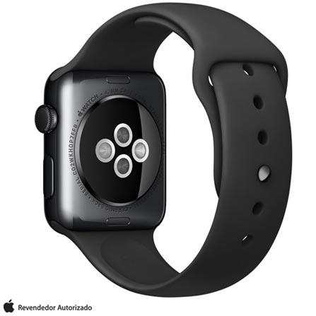 Apple Watch Preto Espacial com Pulseira Preta, 42 mm, Wi-Fi, Bluetooth e 8 GB, Preto, 42 mm, watchOS, Não especificado, 8 GB, Não, 12 meses