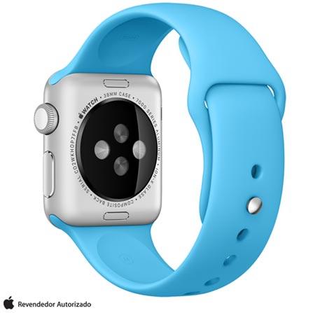 Apple Watch Sport Prata com Pulseira Azul, 38 mm, Wi-Fi, Bluetooth e 8 GB, Prata, 38 mm, watchOS, Não especificado, 8 GB, Não, 12 meses