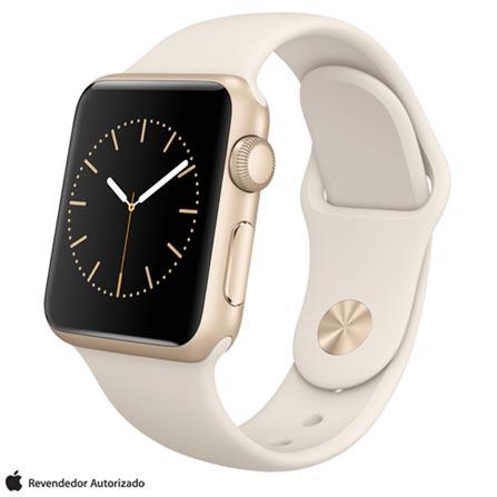 Apple Watch Sport Dourado com Pulseira Off White, 38 mm, Wi-Fi, Bluetooth e 8 GB, Dourado, 38 mm, watchOS, Não especificado, 8 GB, Não, 12 meses