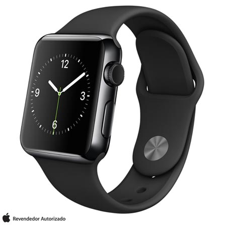 Apple Watch Preto Espacial com Pulseira Preta, 38 mm, Wi-Fi, Bluetooth e 8 GB, Preto, 38 mm, watchOS, Não especificado, 8 GB, Não, 12 meses