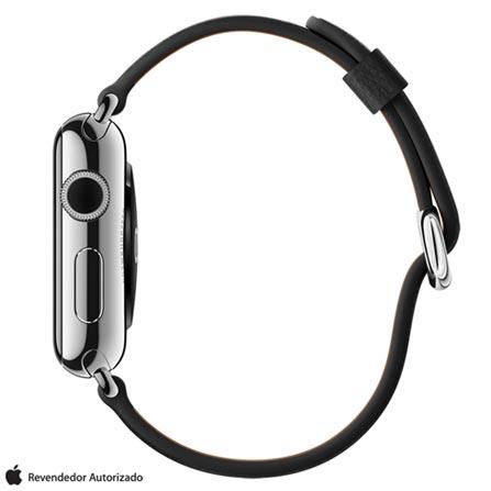 Apple Watch Prata com Pulseira Preta, 38 mm, Wi-Fi, Bluetooth e 8 GB, Prata, 38 mm, watchOS, Não especificado, 8 GB, Não, 12 meses