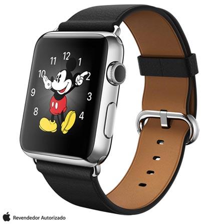 Apple Watch Prata com Pulseira Preta, 42 mm, Wi-Fi, Bluetooth e 8 GB, Prata, 42 mm, watchOS, Não especificado, 8 GB, Não, 12 meses