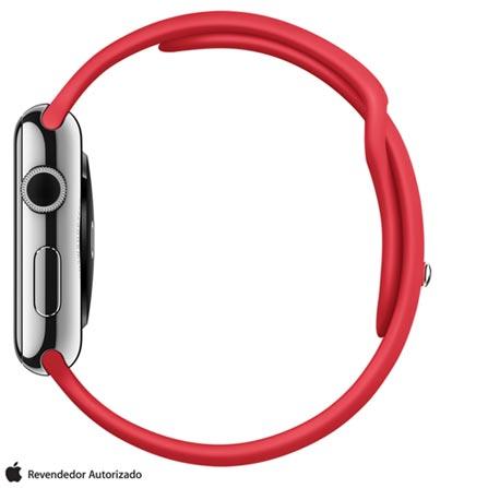 Apple Watch Prata com Pulseira Vermelha, 42 mm, Wi-Fi, Bluetooth e 8 GB, Prata, 42 mm, Não especificado, 8 GB, Não, 12 meses