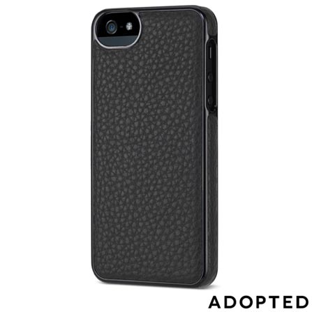 Capa Protetora para iPhone 5 em Couro Preta e Prata - Adopted - APH11147, Preto e Prata, Capas e Protetores, 12 meses