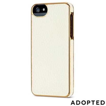 Capa Protetora para iPhone 5 em Couro Branca e Dourada Adopted - APH11149, Branco e Dourado, Capas e Protetores, 12 meses