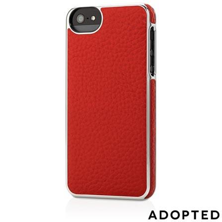 Capa para iPhone 5 em Couro Vermelha e Prata - Adopted -  APH11156, Vermelho e Prata, Capas e Protetores, 12 meses