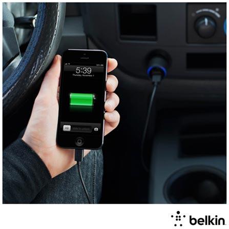Carregador Duplo Veicular Preto para iPhone 5, iPad Mini e iPad 4 com 2 Portas USB Belkin, 12 meses