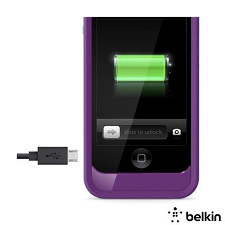 Capa Bateria para iPhone 5 e 5S de Metal e Plástico Roxo e Verde - Belkin - F8W292TTC03, Roxo e Verde, Capas e Protetores, 12 meses