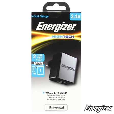 Carregador para Viagem Hightech Preto com 2 Saídas USB 3.4a Sem Cabo - Energizer - EZACA2B, Preto, Carregadores, Smartphones e Tablets, 24 meses