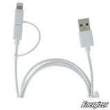 Cabo Carregador Hightech Lightning Duo Micro USB com 1,2 m de Extensão Branco - Energizer - EZC11UB