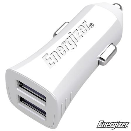 Carregador Veicular Hightech Branco com 02 Saídas USB 3.4a Sem Cabo - Energizer - EGEZDCA2C, Branco, Carregadores, Smartphones e Tablets, 24 meses